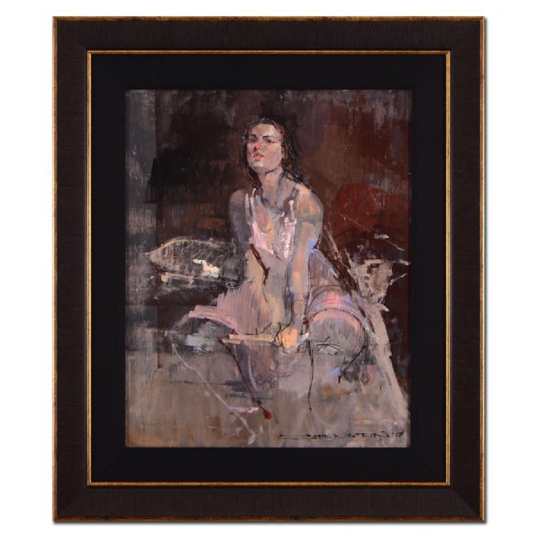 """Alex Zwarenstein """"Woman In Pink"""" Framed Original Oil"""