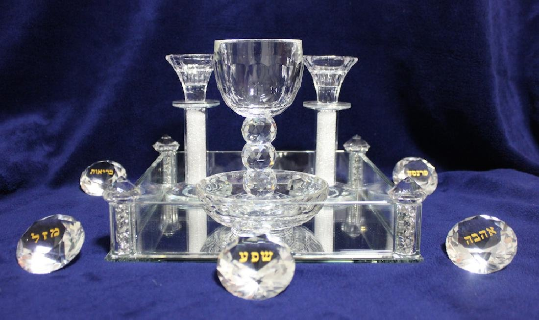 Beautiful Glass and Crystals Judaica Shabbat Set Made