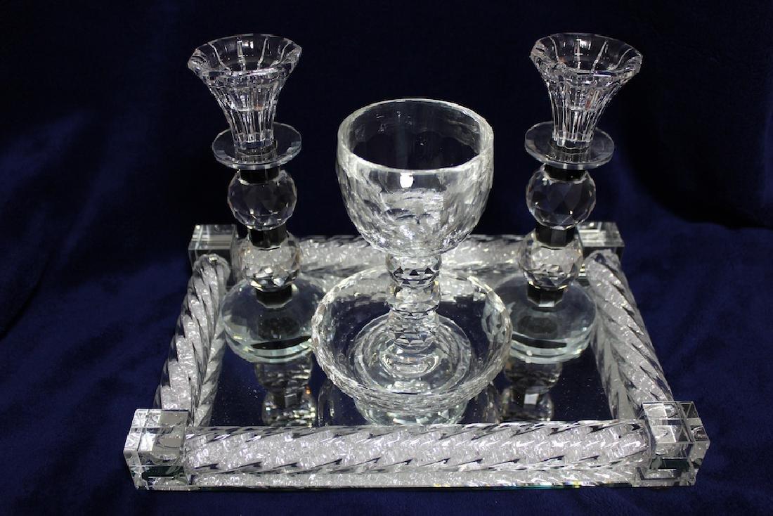 Luxurious Glass and Crystals Judaica Shabbat Set Made