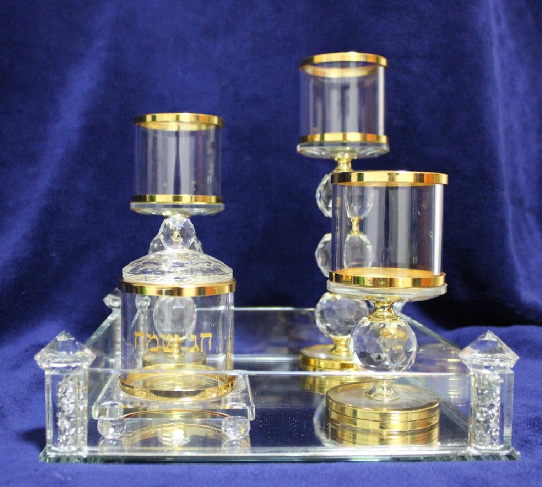 Beautiful Glass  Judaica Holiday Set Made by Jewish