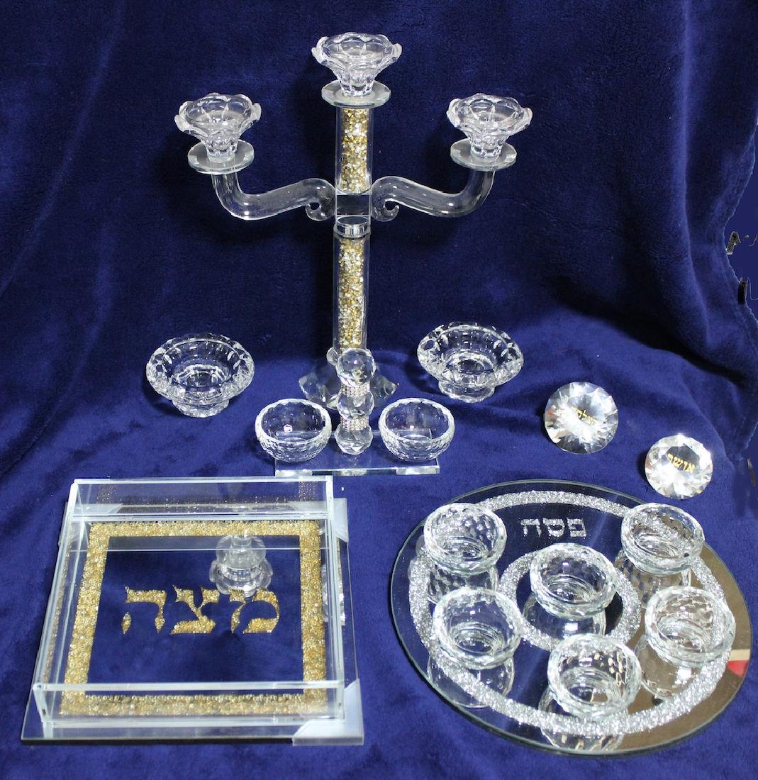 Beautiful Glass and Crystals Judaica Complete Pesach
