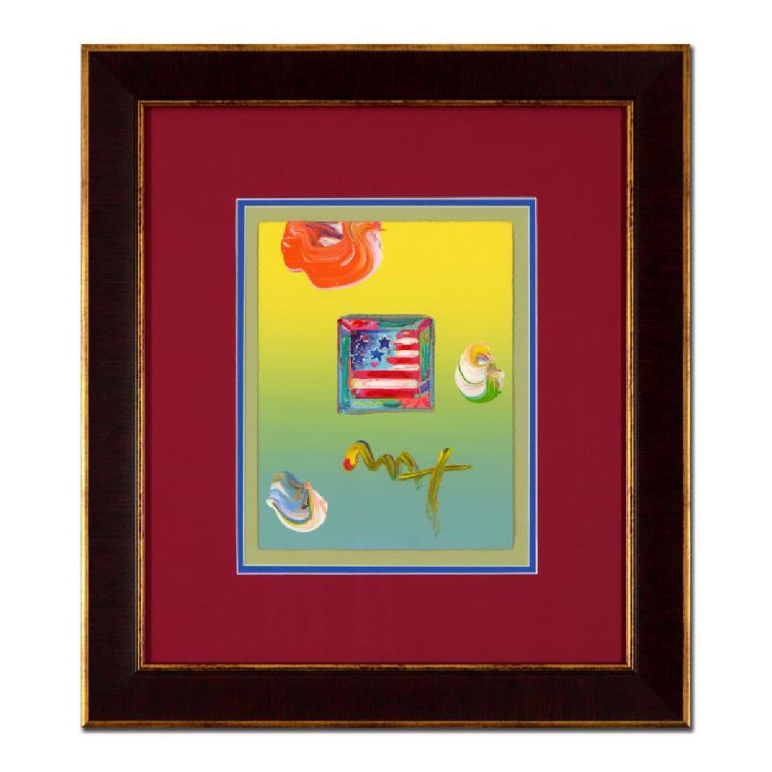 """Peter Max - """"Flag"""" Framed One-Of-A-Kind Acrylic Mixed"""