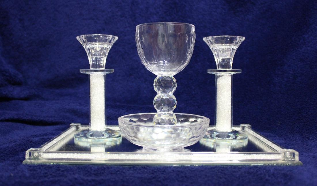 Beautiful Glass and Crystals Judaica Shabbat Set Made