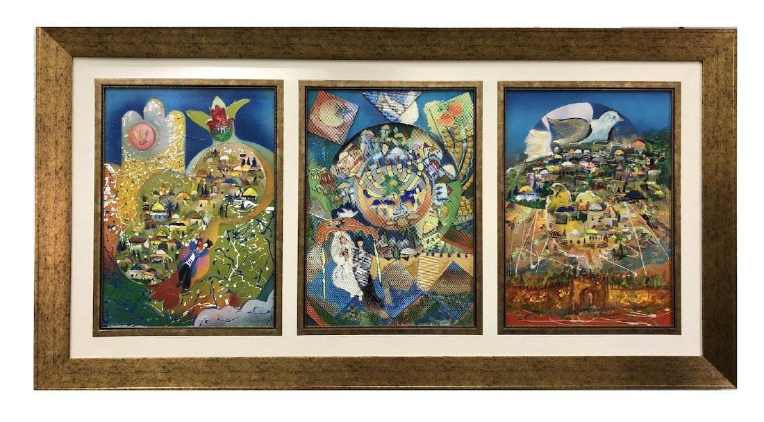 """3 paintings of Jerusalem"" by Avraham"