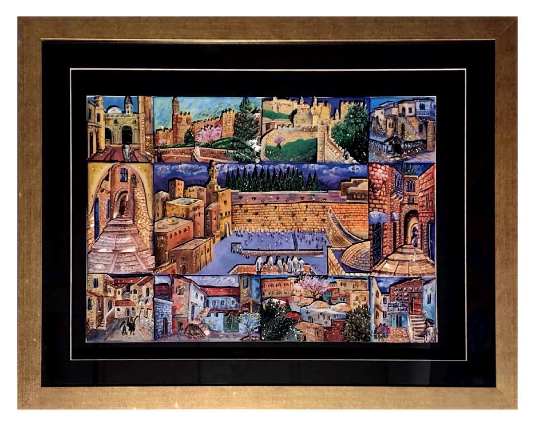 Israeli Artist Ketti Camus Framed Decoupage 53x68cm