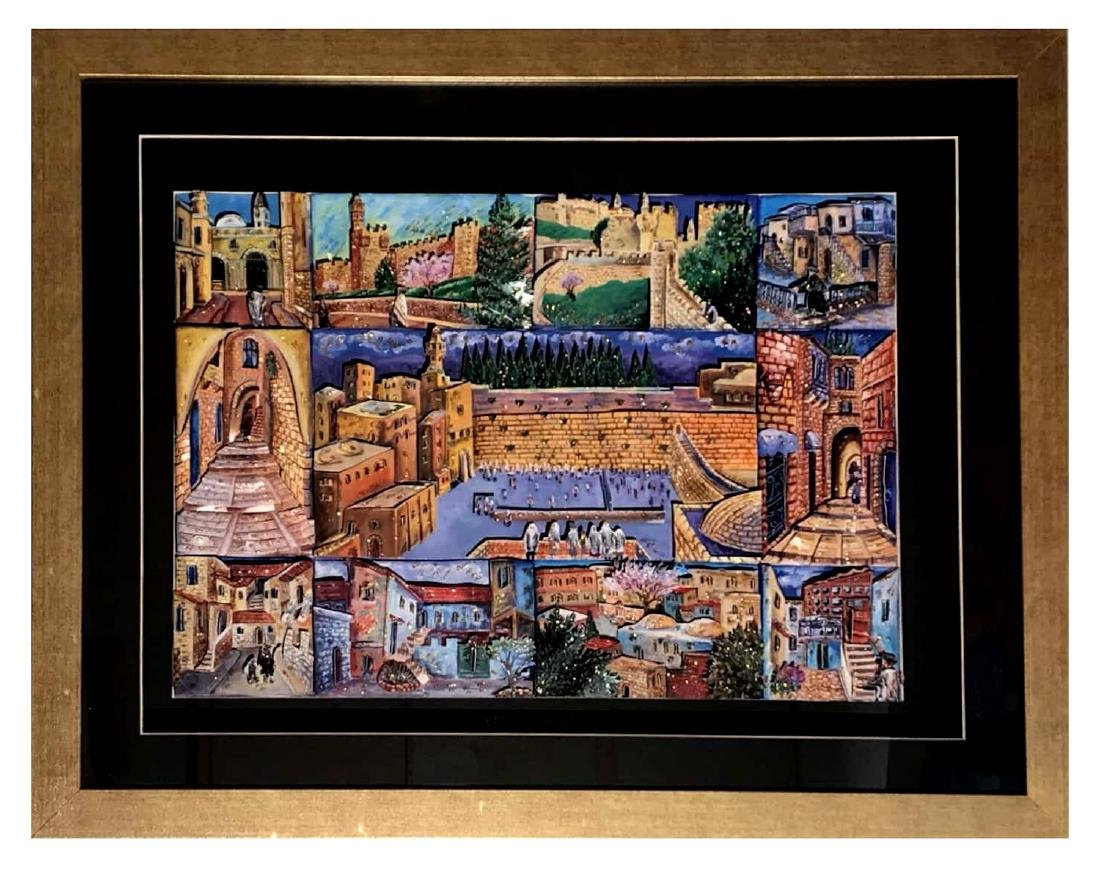 Israeli Artist Ketti Camus Framed Decoupage 53x68cm - 2