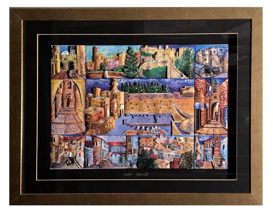 Israeli Artist Ketti Camus Framed Decoupage 53x68cm - 3