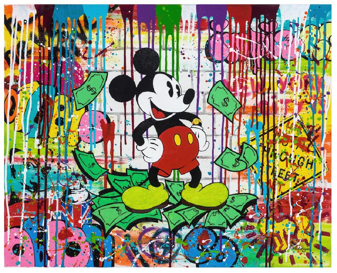 Nastya Rovenskaya Original Oil on Canvas Mickey Mouse