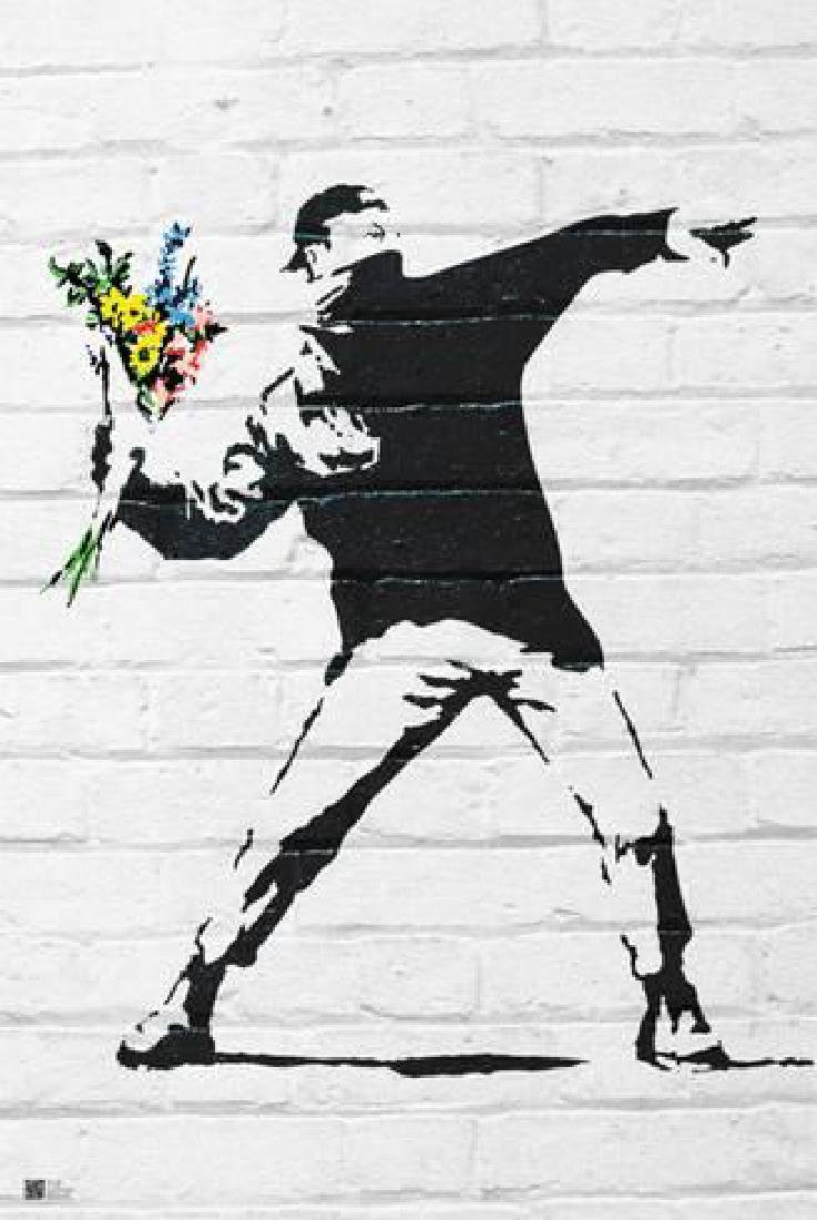 "Banksy ""Flower Bomber"" 24x36 in. Offset Lithograph"