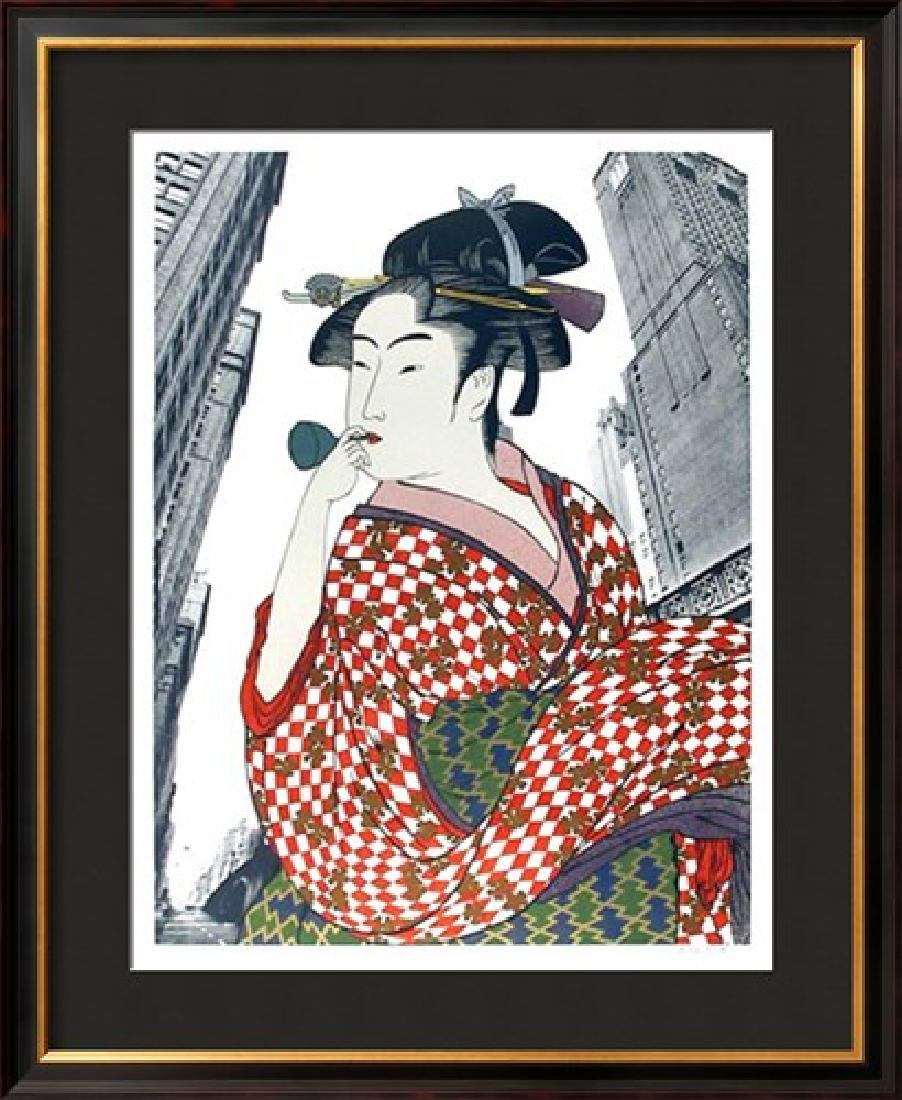 "Michael Knigin ""Woman Playing a Poppin (After Utamaro)"""