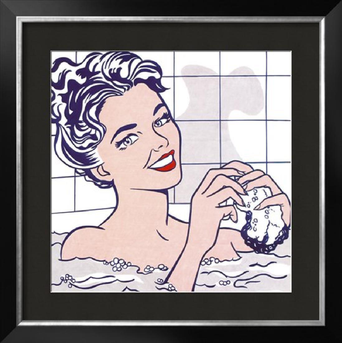 "Roy Lichtenstein ""Woman in a Bath "" Custom Framed"