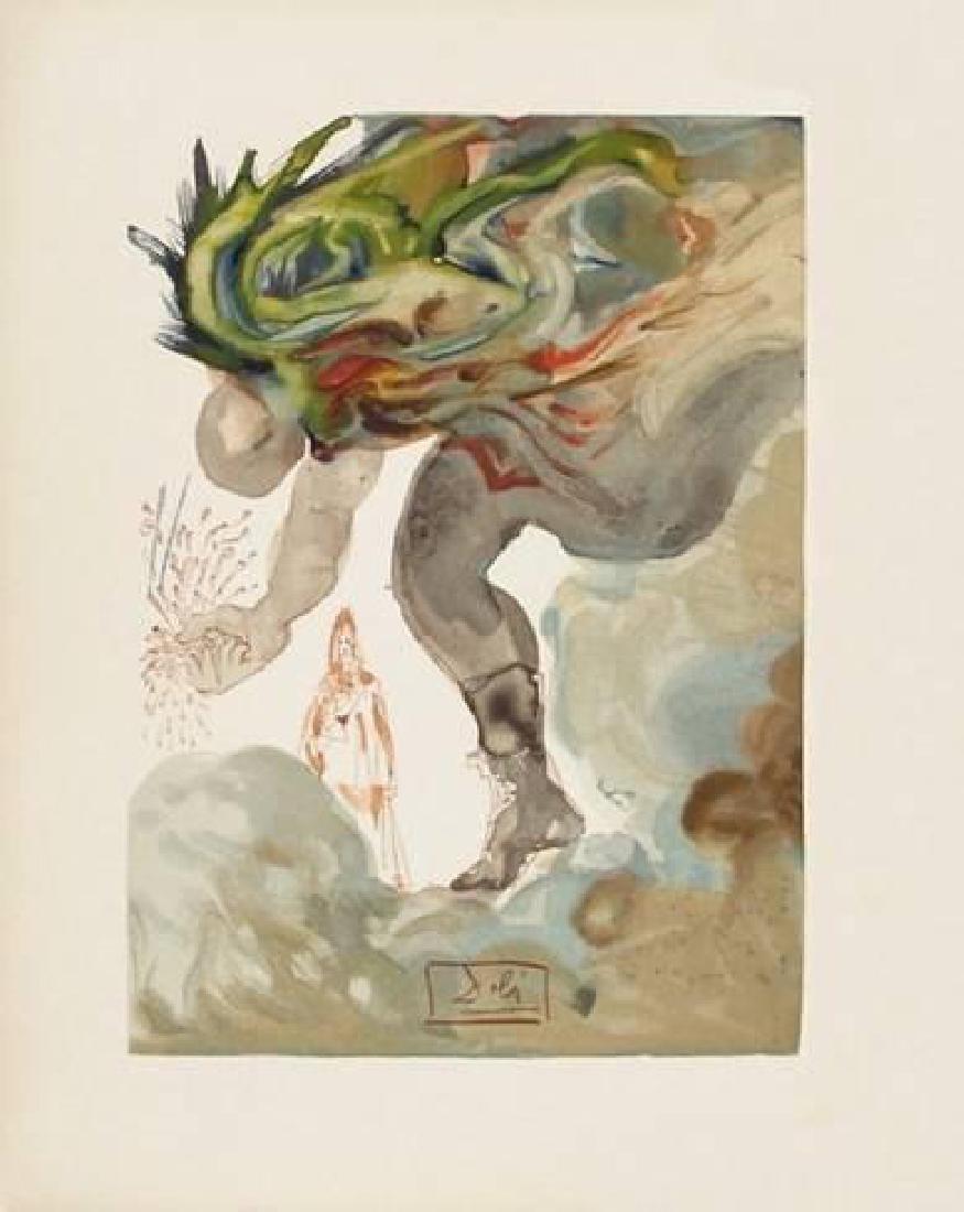 """Salvador Dali """"Enfer 31: Les Geants"""" Woodcut Print"""