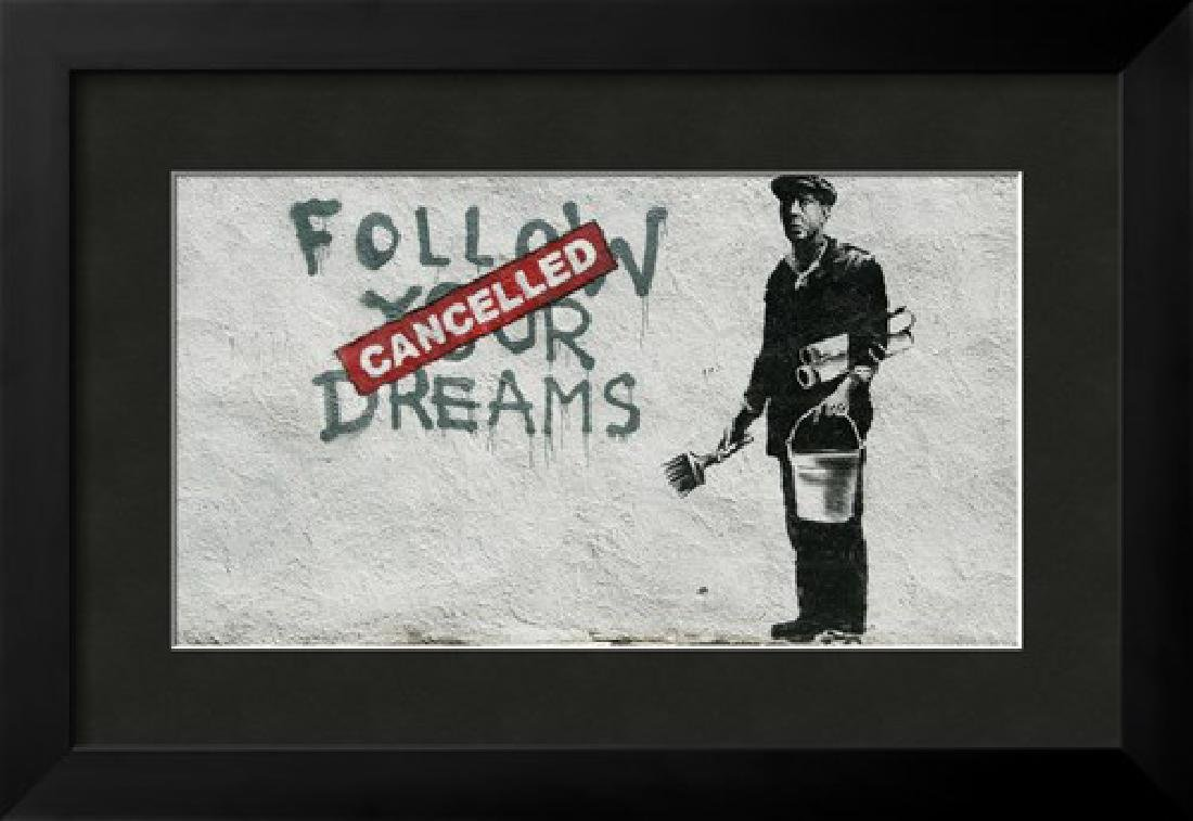 """Banksy """"Cancelled Dreams"""" Custom Framed Giclee on Paper"""