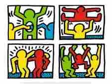 Keith Haring Pop Shop Quad I Offset Lithograph 1987