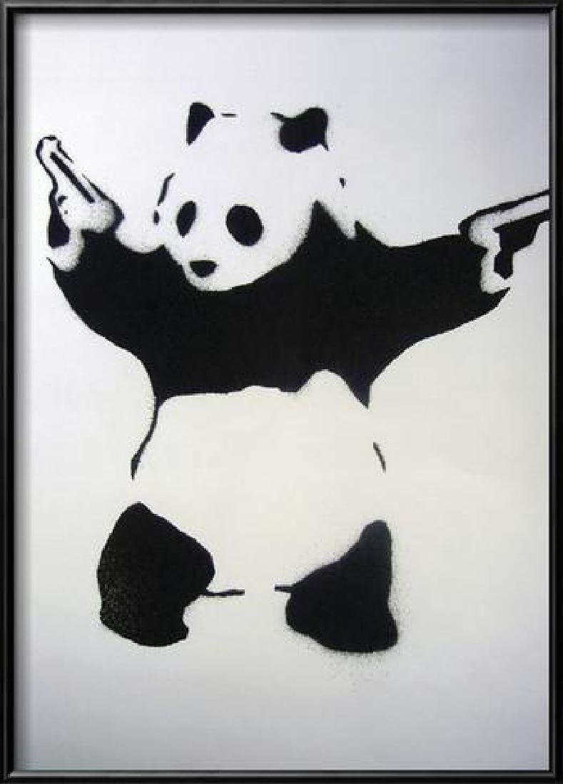 "Banksy ""Pandamonium"" Custom Framed Offset Lithograph"