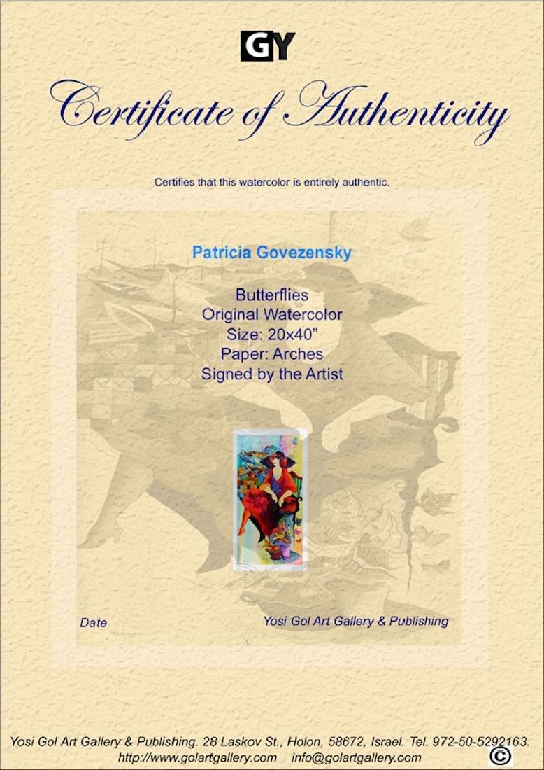 "Patricia Govezensky Original Watercolor ""Butterflies"" - 3"