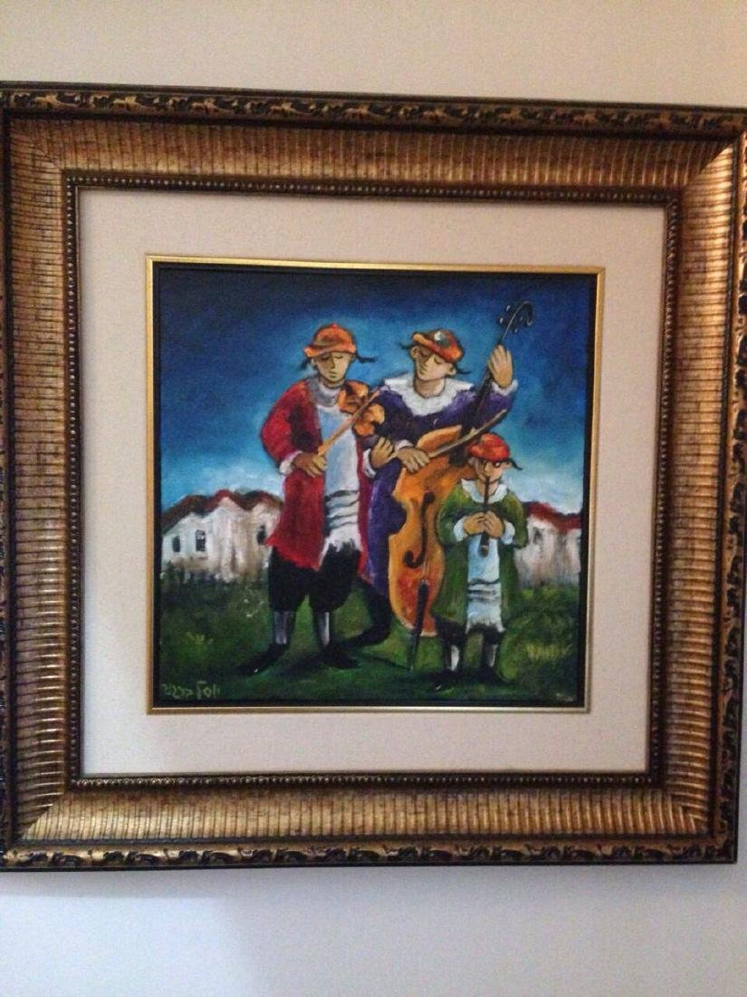 "Yosl Bergner Oil on Canvas ""Three Klaizmurim"" HS"