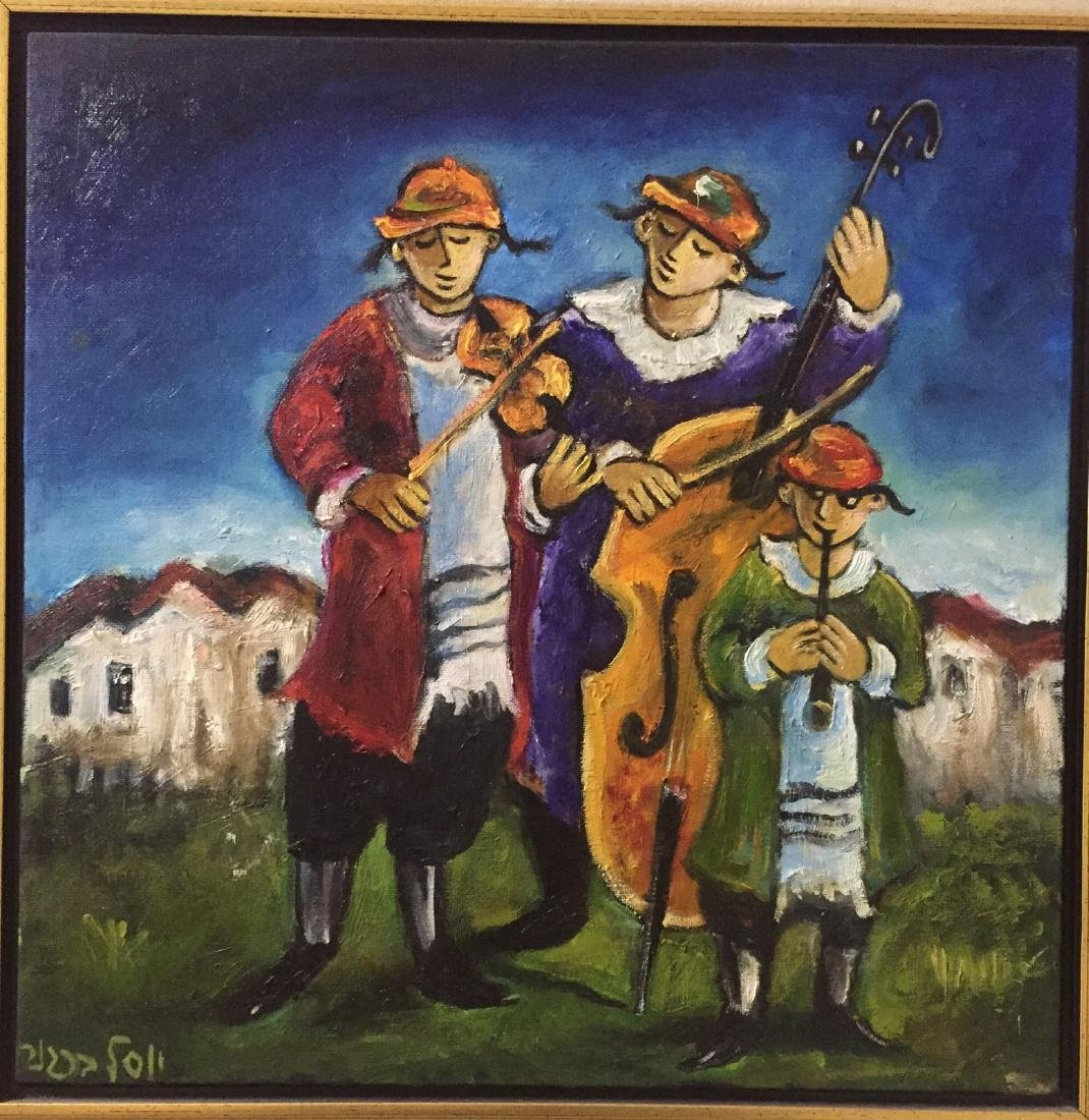 "Yosl Bergner Oil on Canvas ""Three Klaizmurim"" HS - 2"