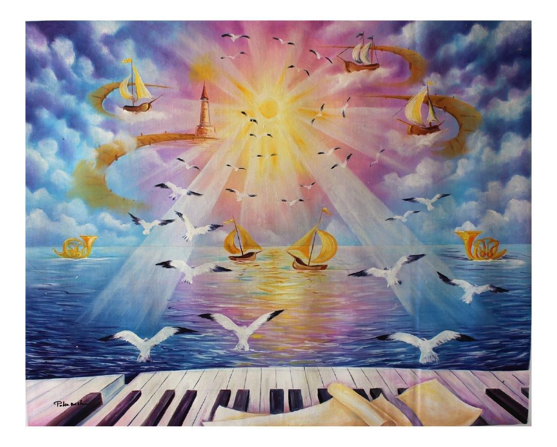 Eugene Poliarush Original Oil on Canvas Surreal Fine