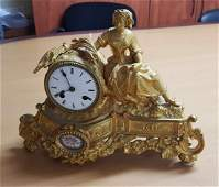 Antique French Gilt Bronze Mantel Table Clock with