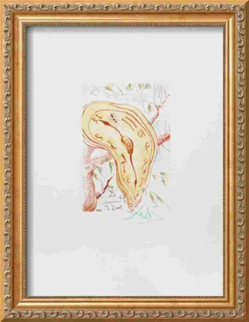 "Salvador Dali ""Melting Clock"" Custom Framed Intaglio"