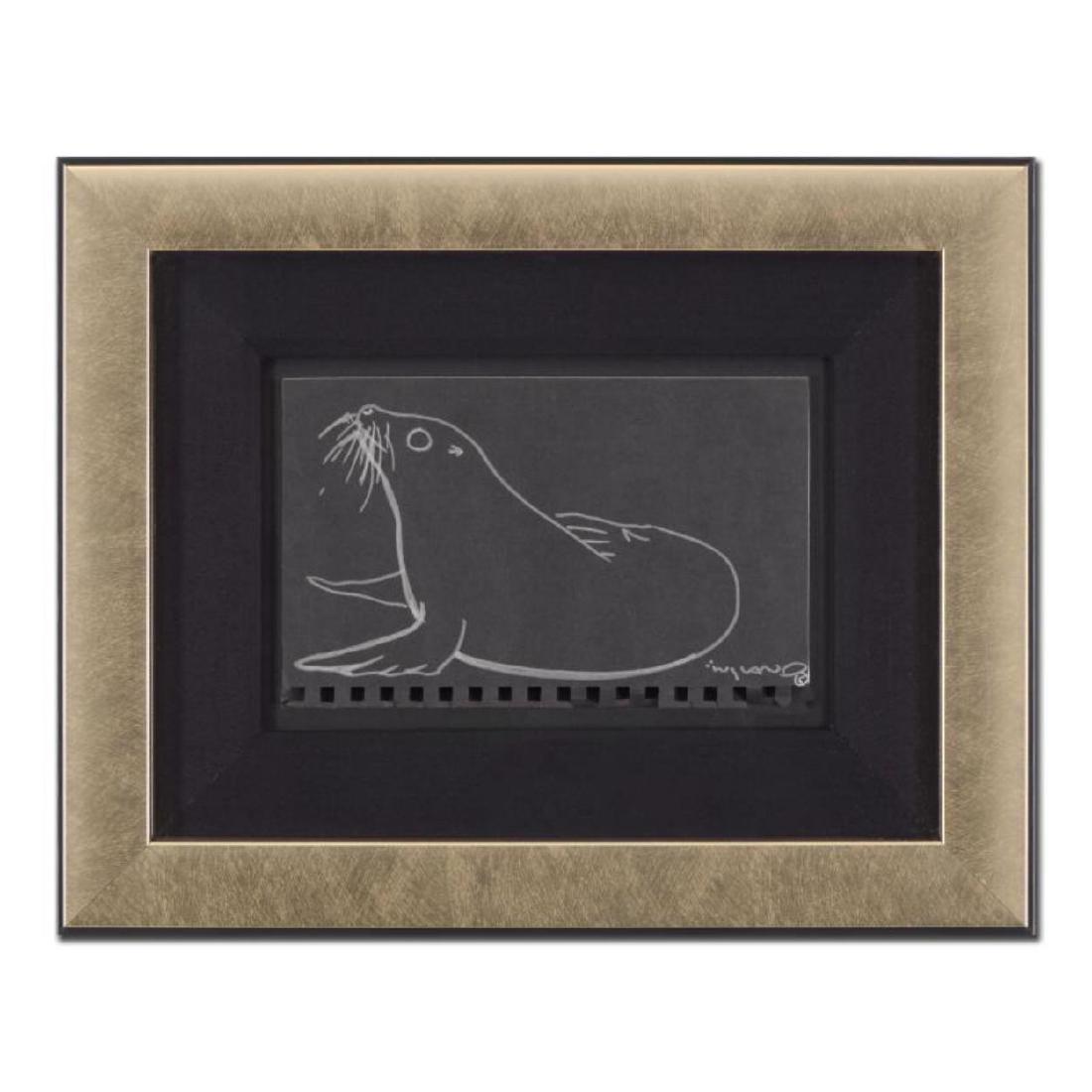 """Wyland - """"Seal"""" Framed Original Sketch, Hand Signed"""
