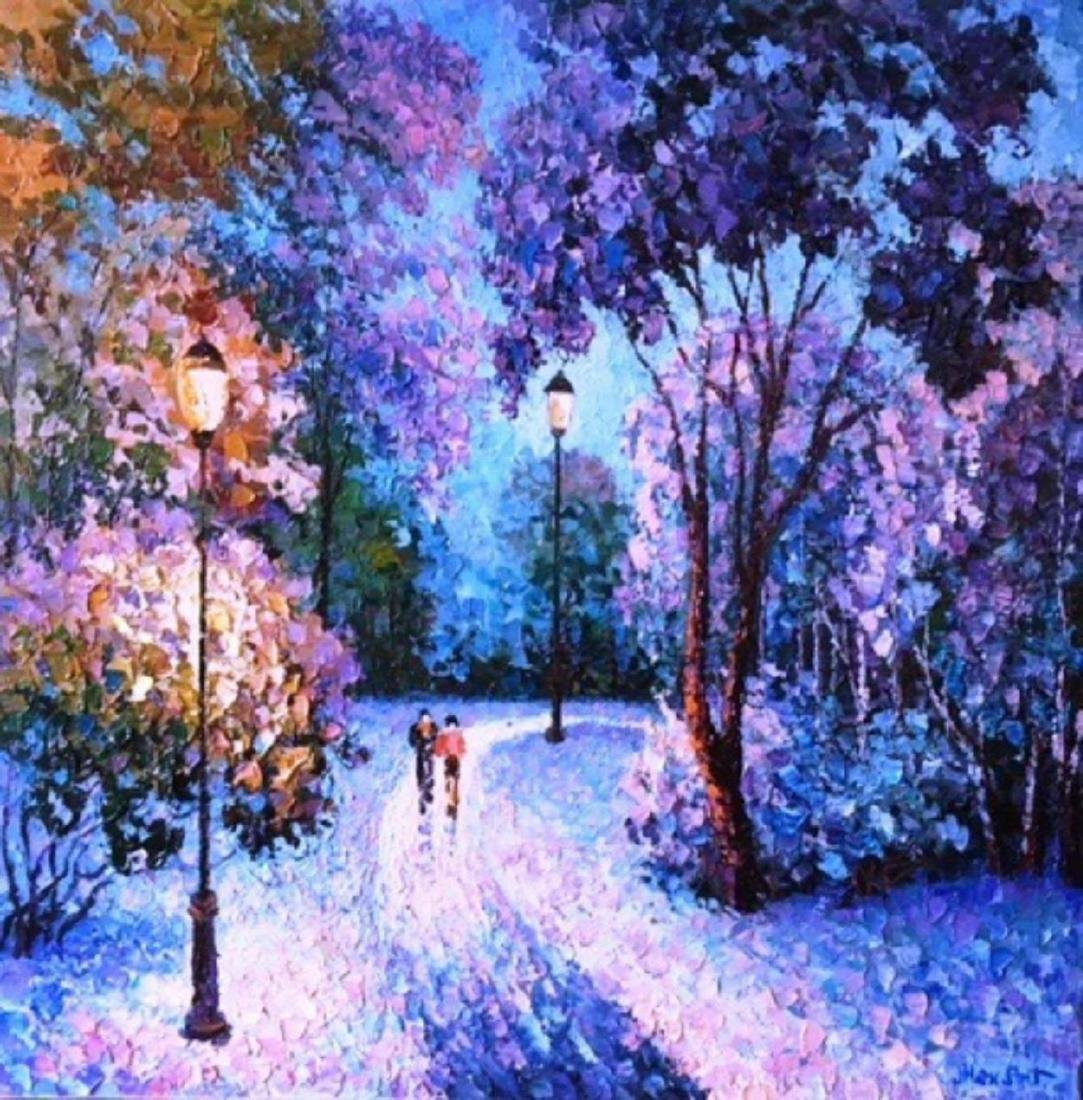 "Alexander Antanenka- ""Winter Night"" Original Acrylic on"