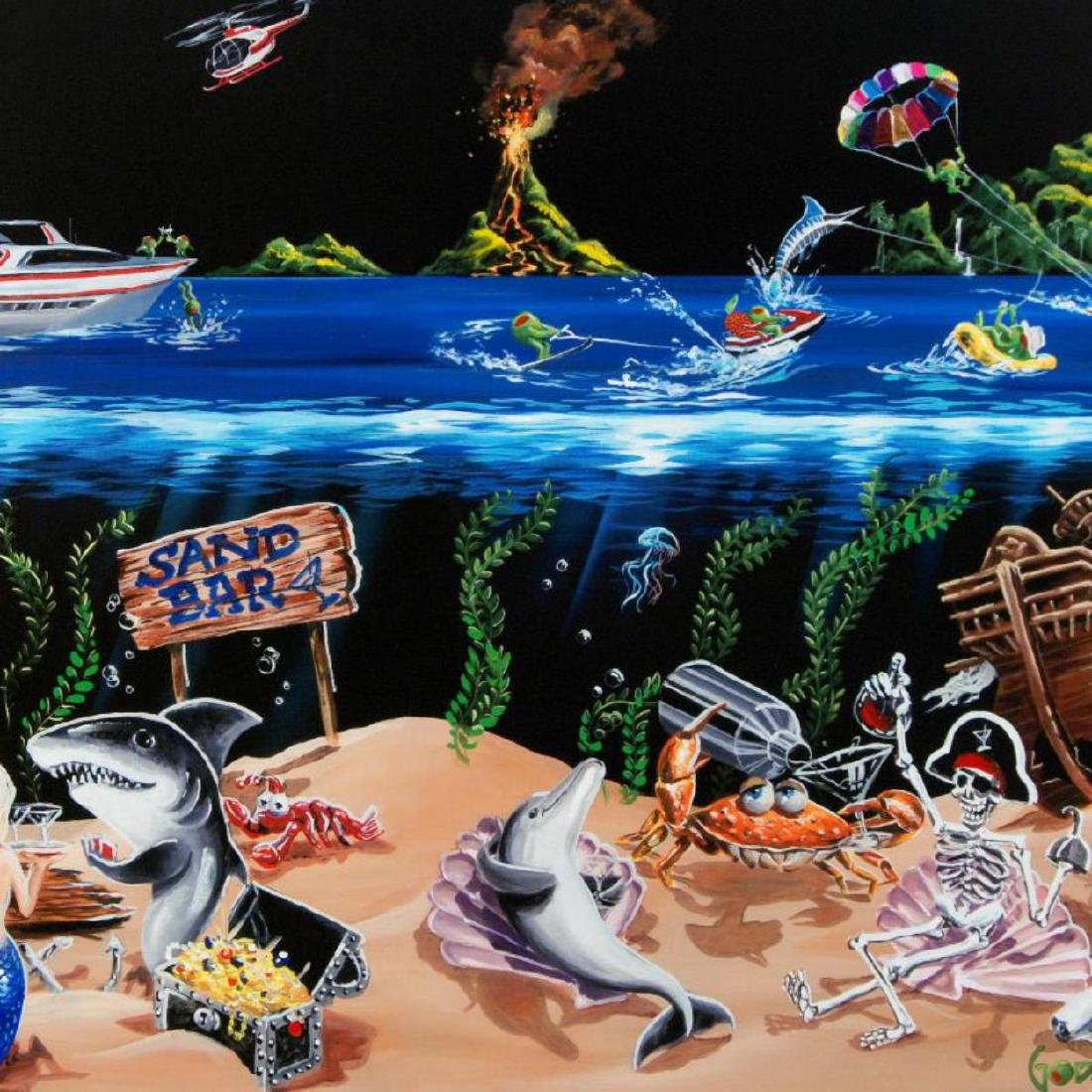 """""""Sand Bar"""" Limited Edition Hand-Embellished Giclee on - 2"""