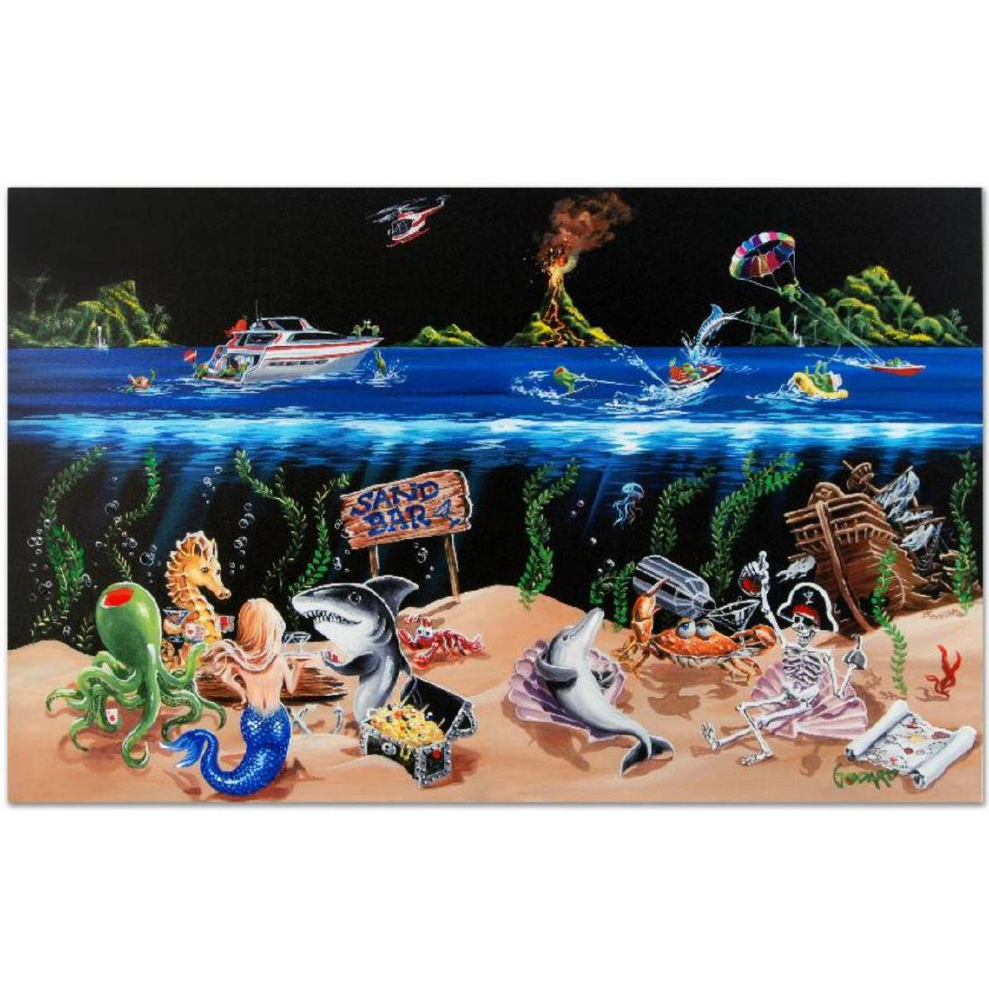 """""""Sand Bar"""" Limited Edition Hand-Embellished Giclee on - 3"""