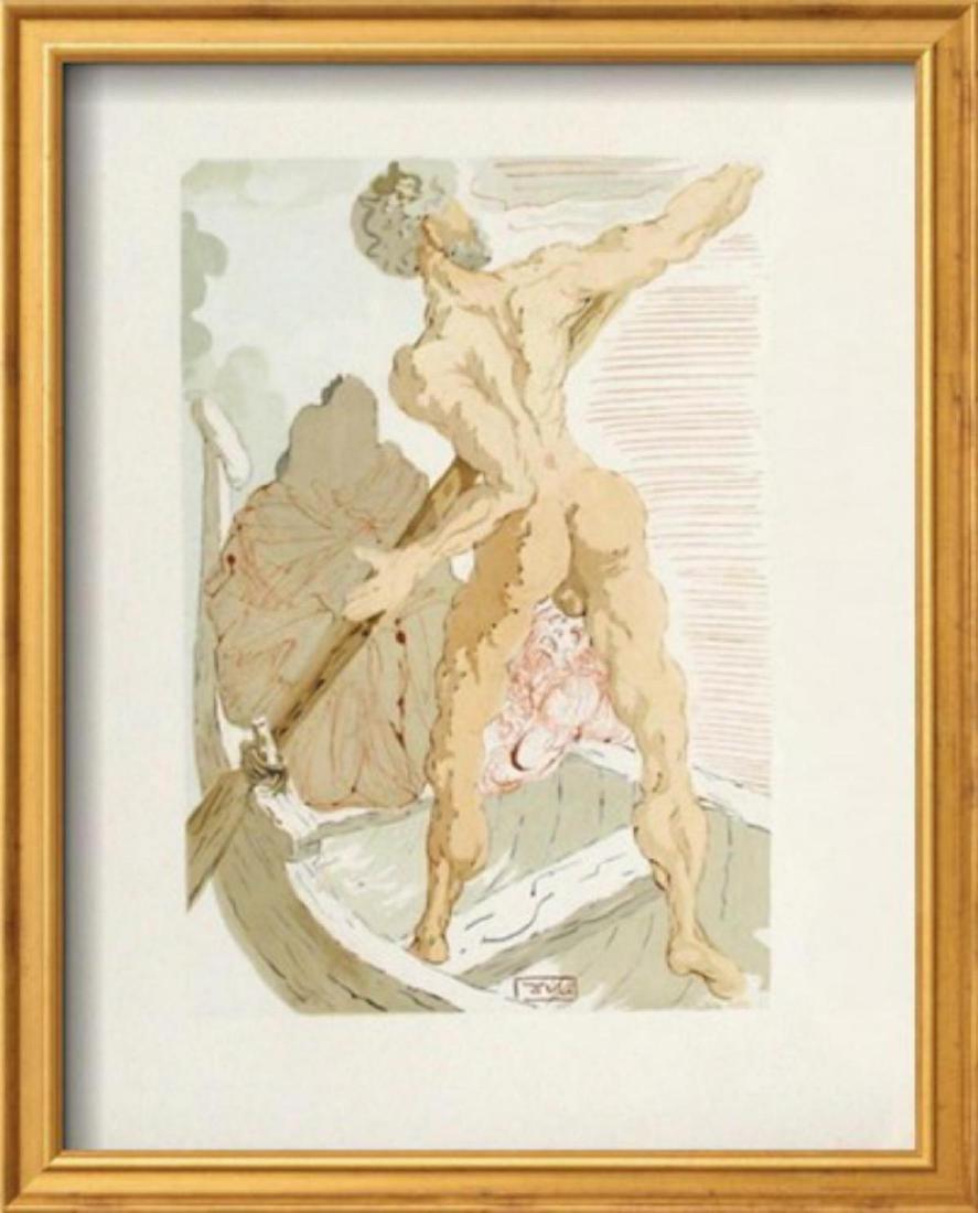 """Salvador Dali """"Divine Comedie, Enfer 03: Charon et le"""