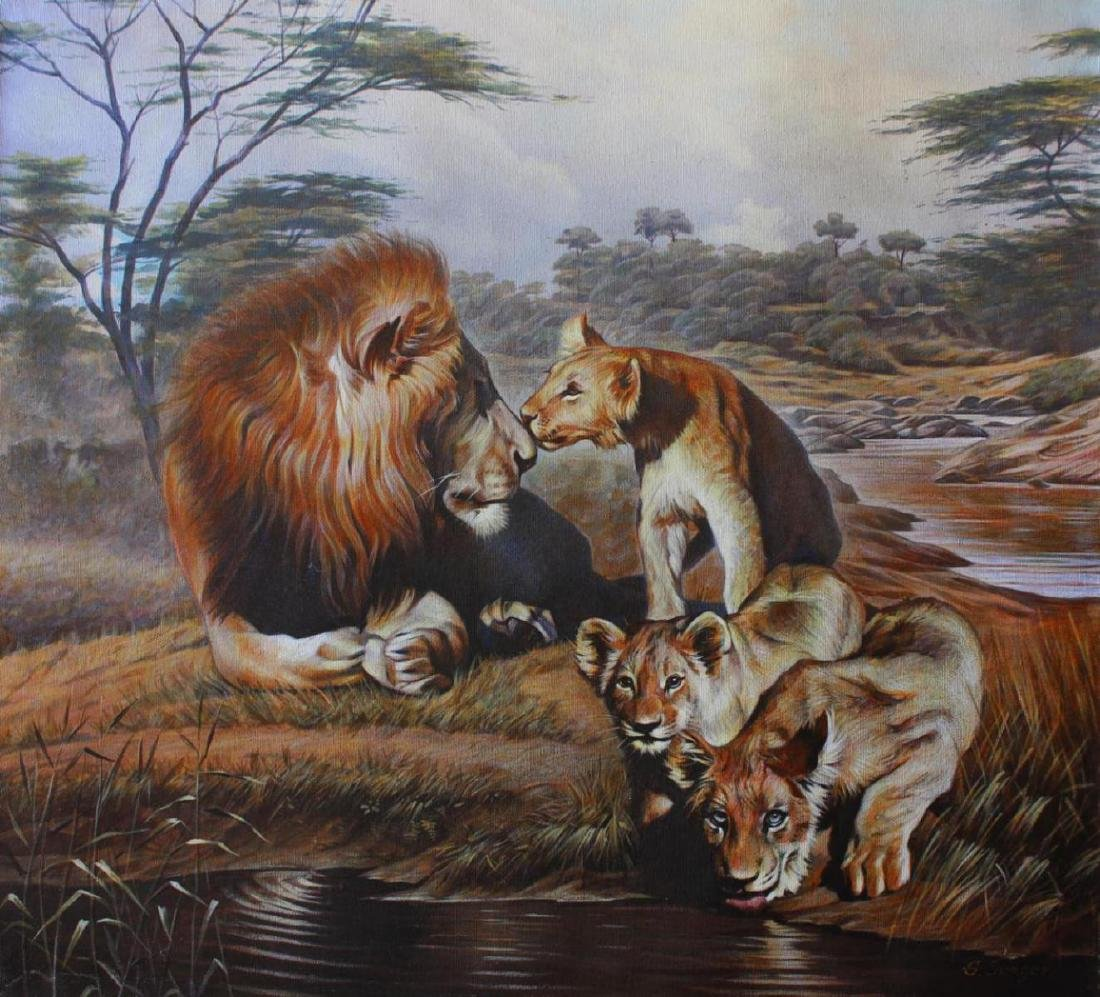 Sergey Goncharenko Original Oil on Canvas The Lion's