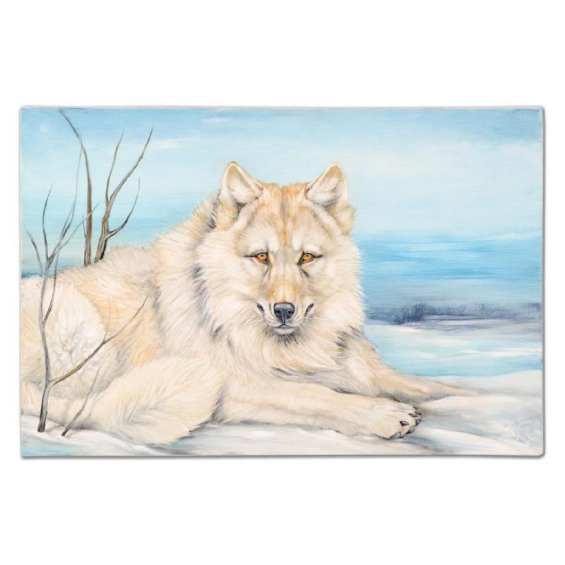 """Martin Katon - """"White Wolf Winter"""" Original Oil"""