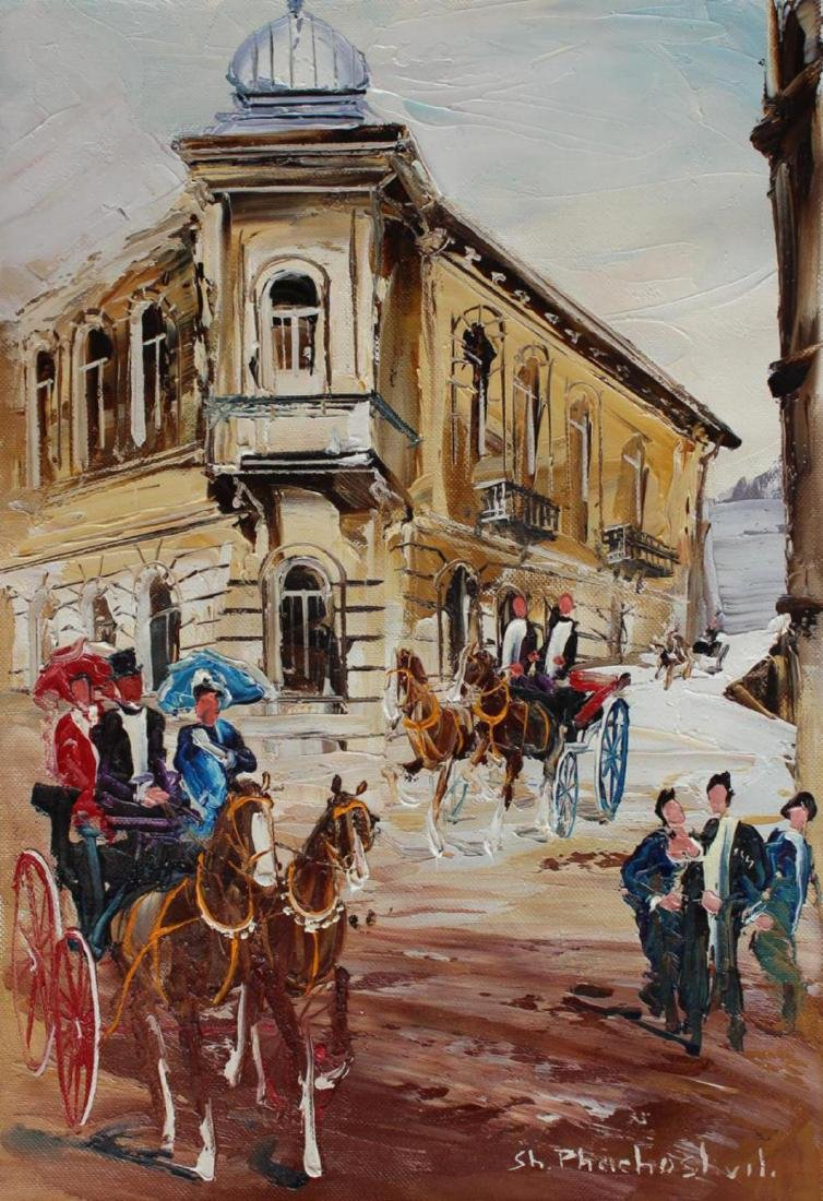 Shalva Phachoshvili- Carriages | Original oil on canvas