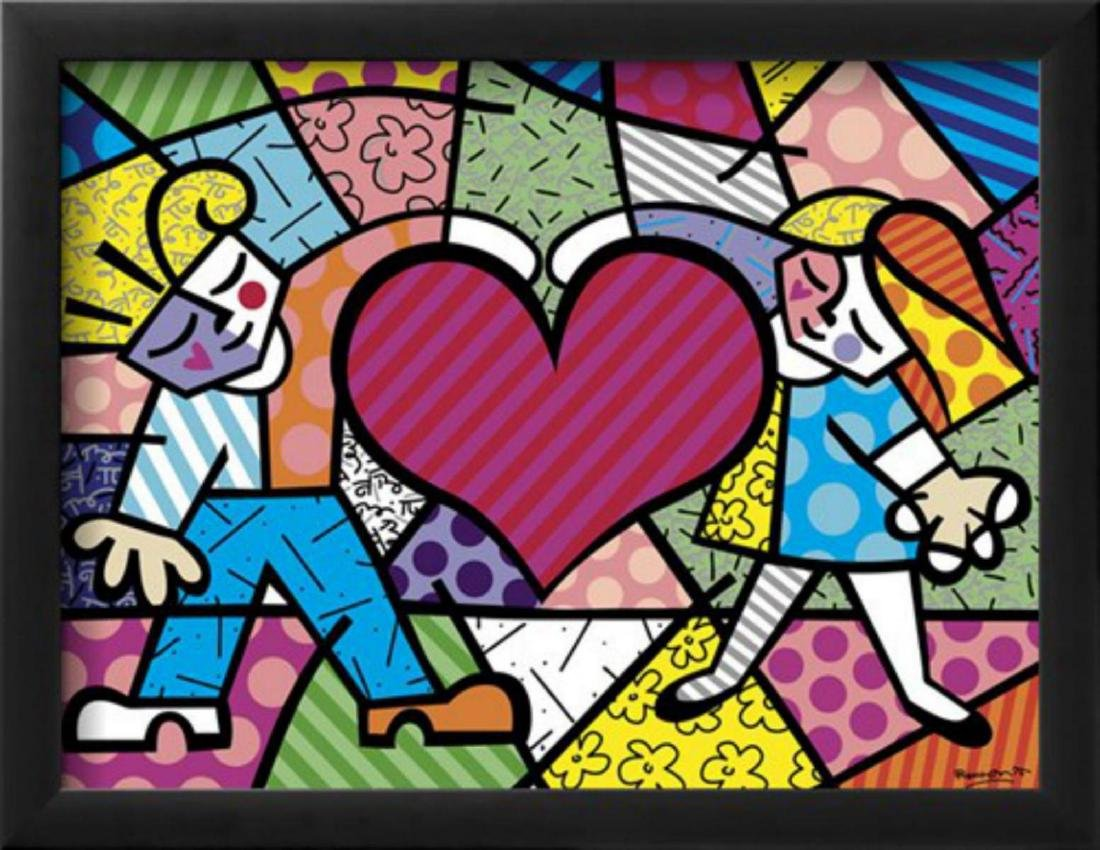 "Romero Britto ""Heart Kids"" Custom Framed Offset"