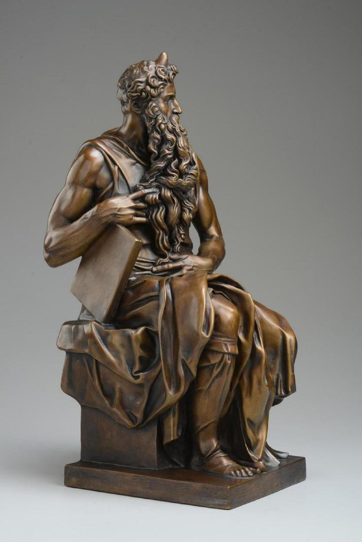 "Michelangelo ""Moses†Lost Wax Bronze Sculpture"