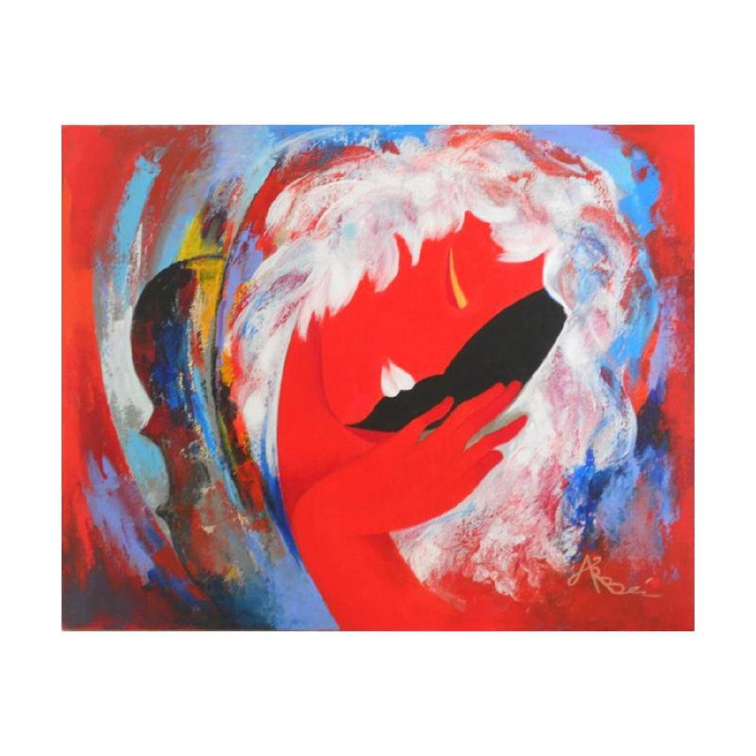 """Arbe, """"Red All Over"""" Original Mixed Media Painting on"""
