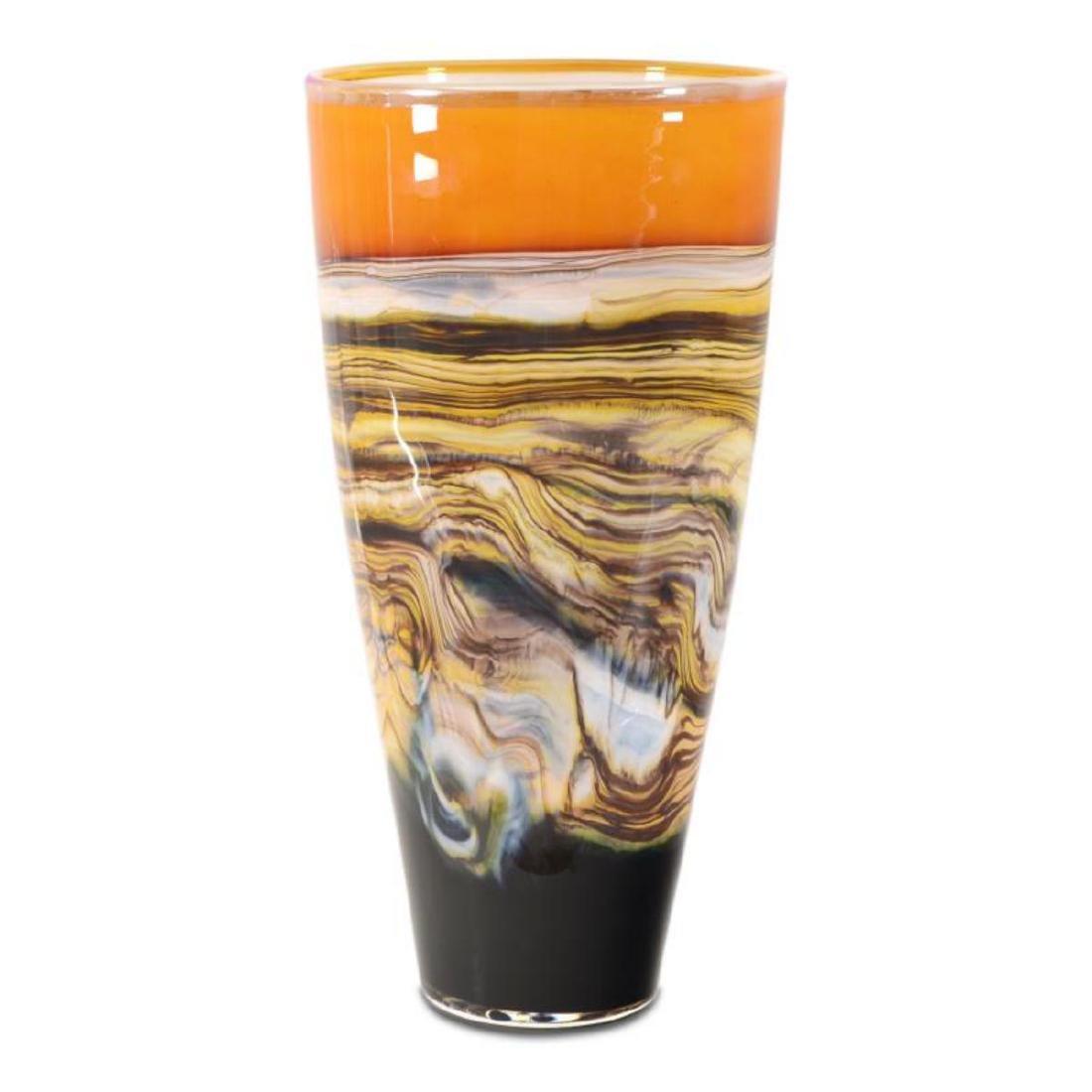 """Large Tangerine Strata Cone"" Hand Blown Glass"