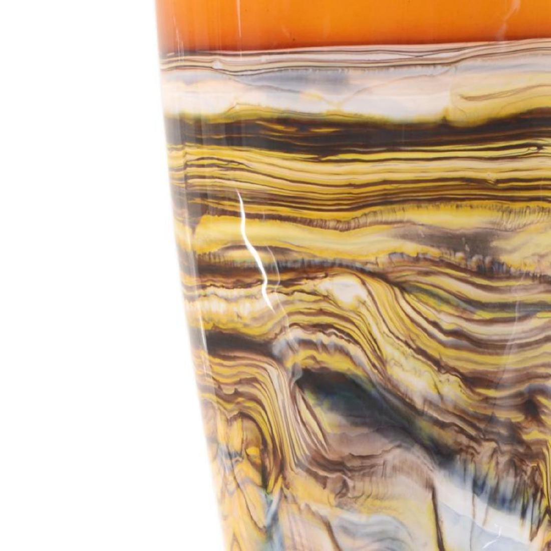 """Large Tangerine Strata Cone"" Hand Blown Glass - 2"