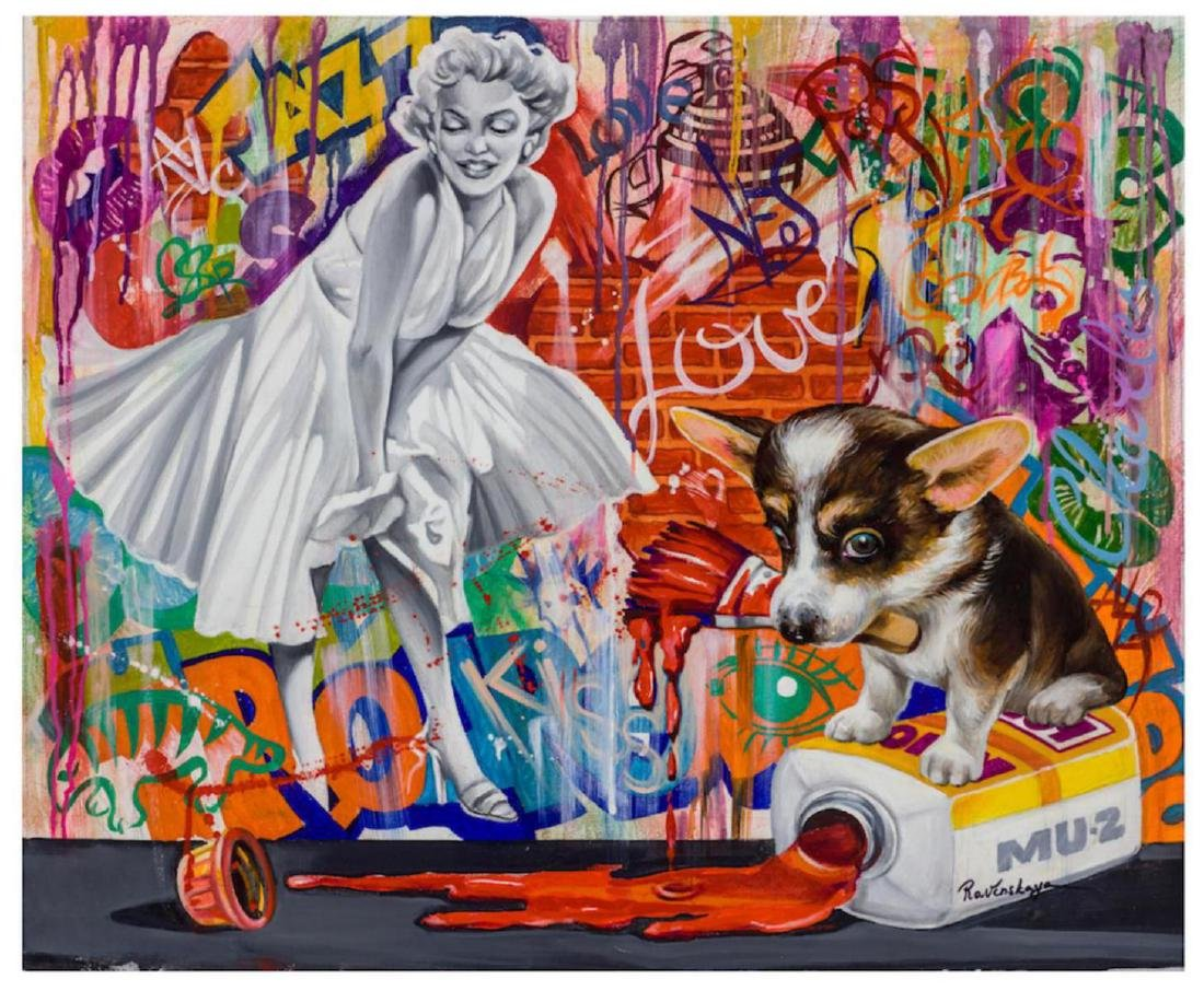 Nastya Rovenskaya Mixed Media on Canvas Marilyn Monroe-