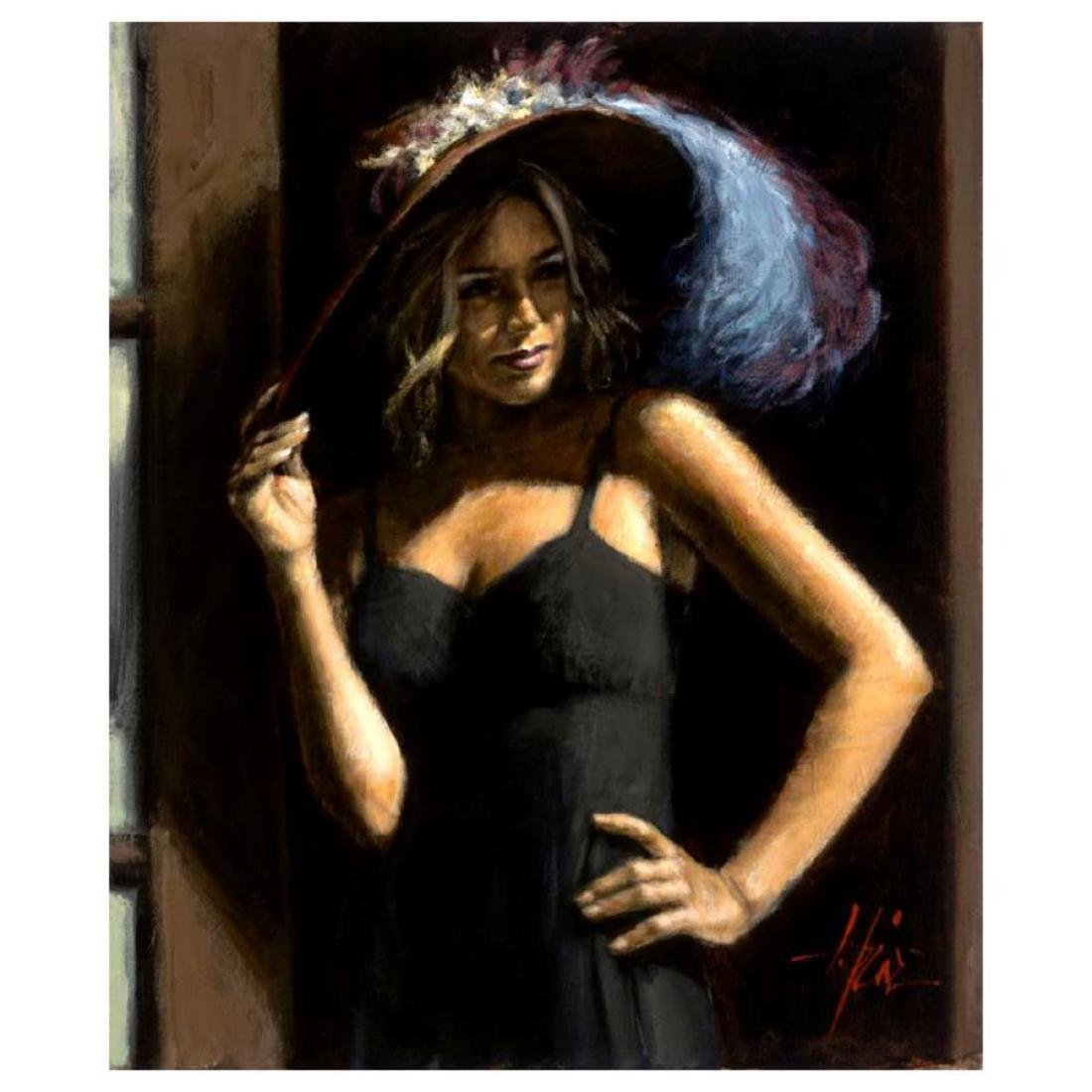 """Fabian Perez """"Study For Girl with Hat"""" Hand Embellished"""