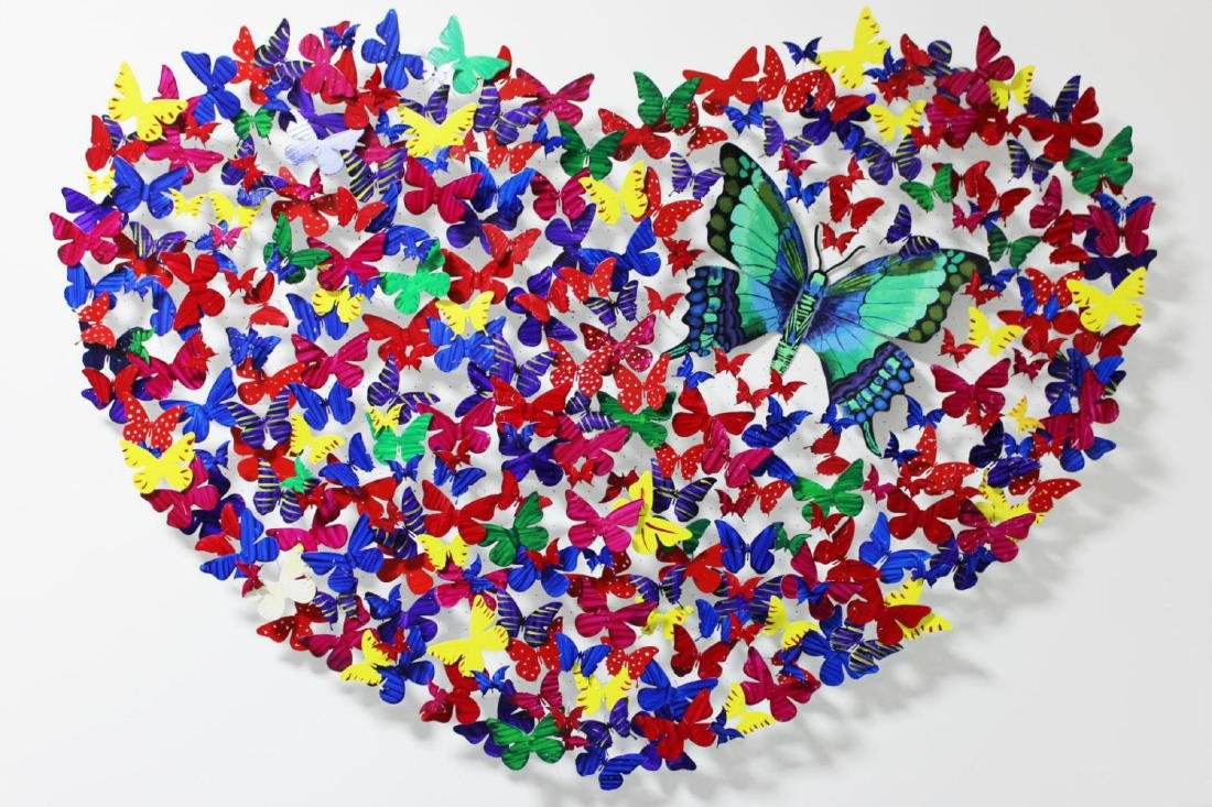 """Patricia Govezensky- XL Original 3D Metal Art """"Heart"""""""