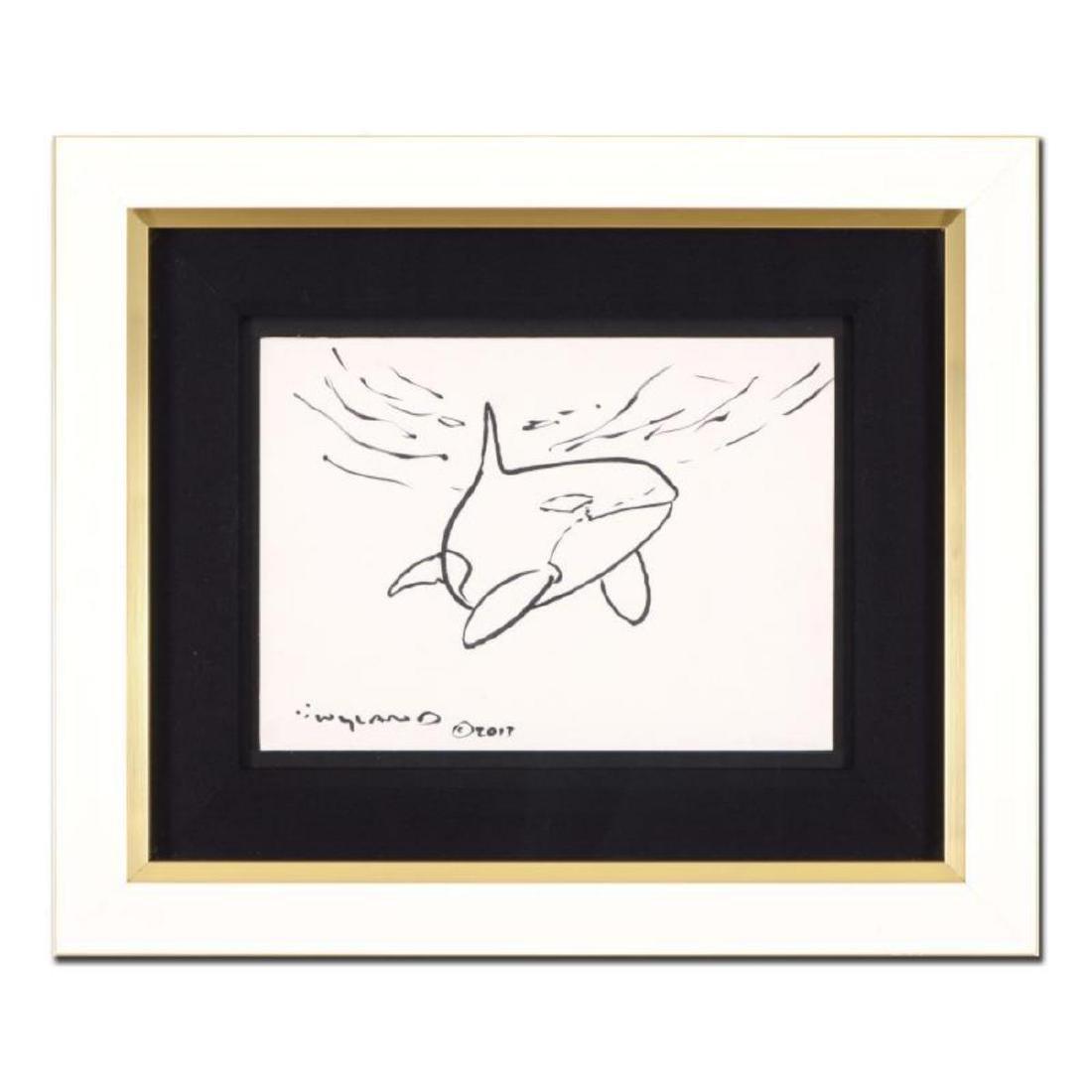 """Wyland - """"Orca"""" Framed Original Sketch, Hand Signed"""