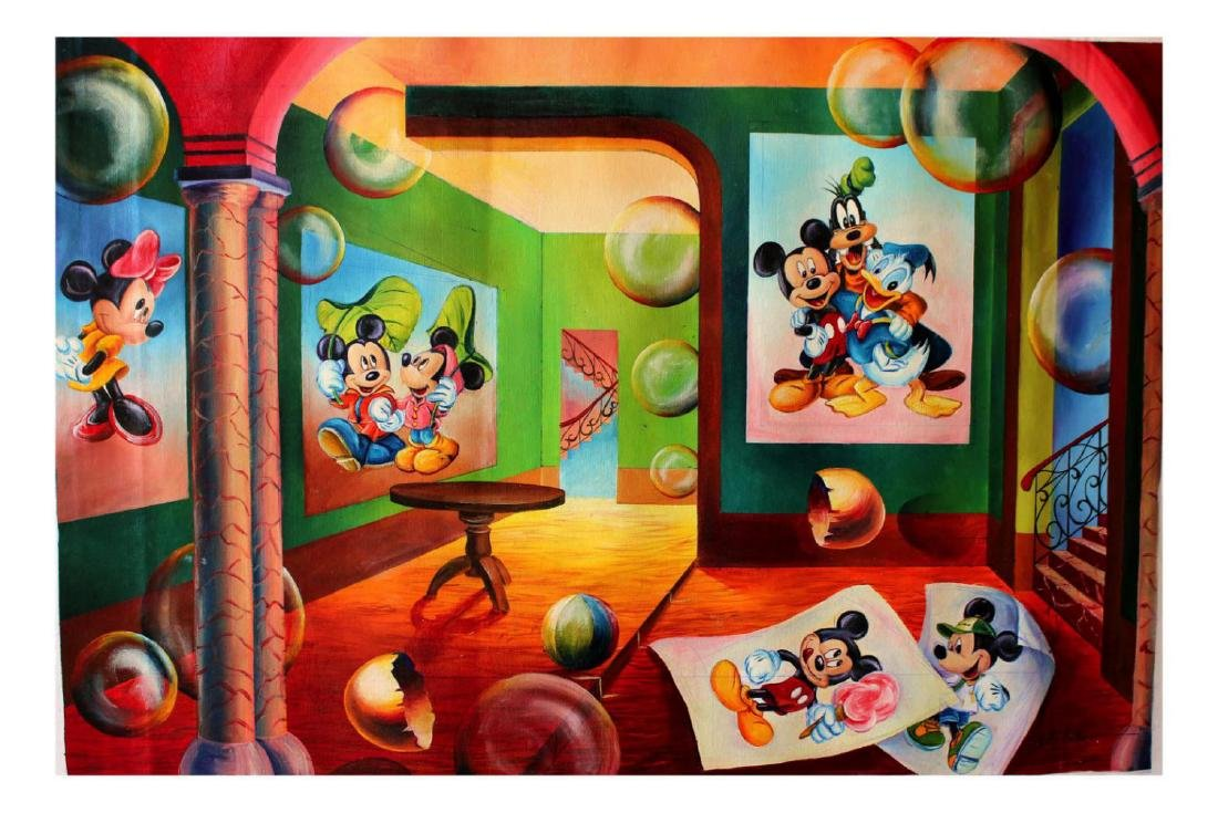 Alexander Astahov- Original Oil on Canvas Mickey Mouse