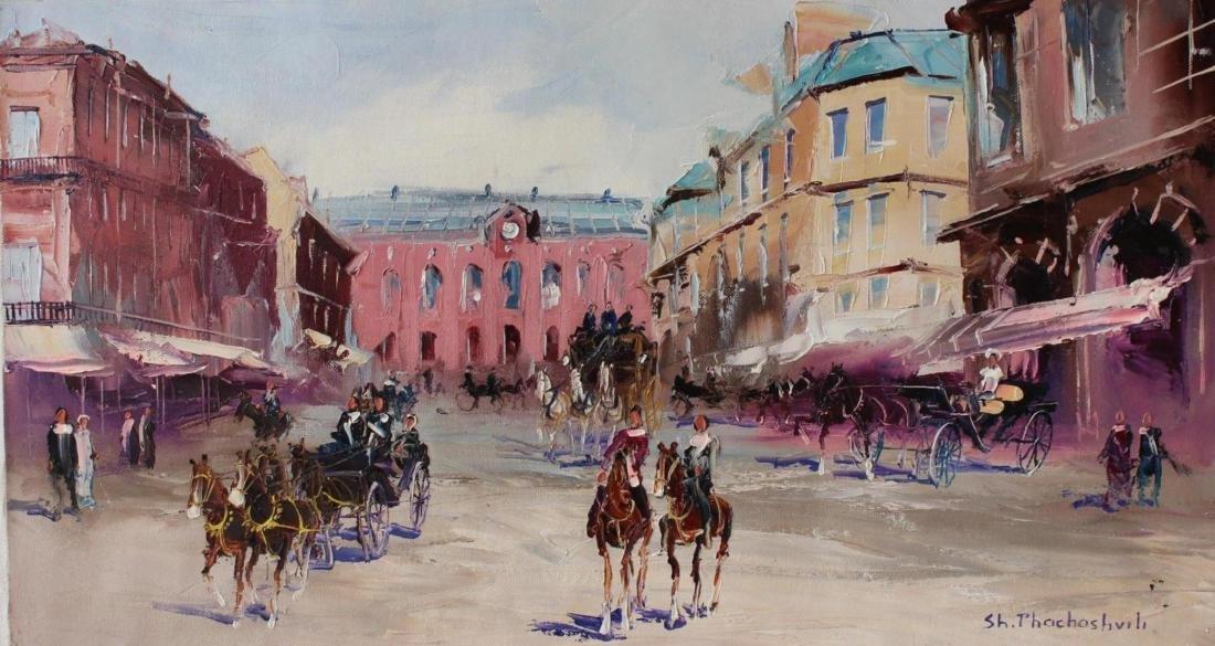 Shalva Phachoshvili Original Oil on Canvas- The Square