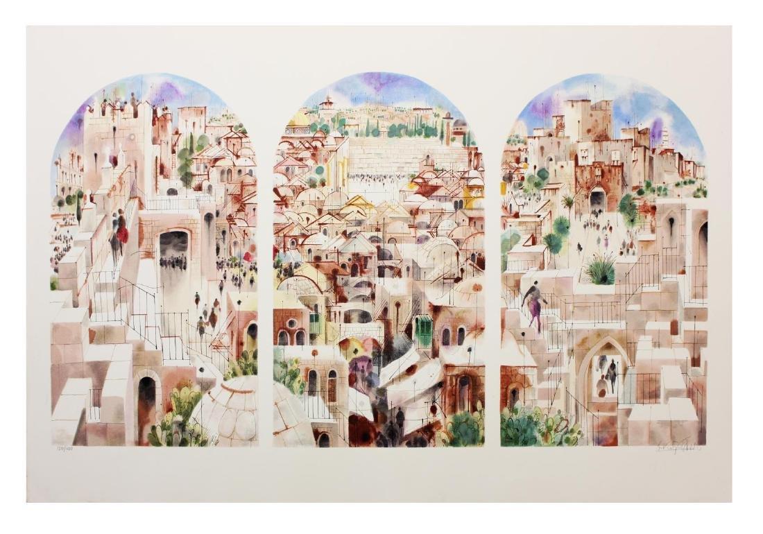 """Shmuel Katz- Serigraph on Paper """"Jerusalem - Triptych """""""
