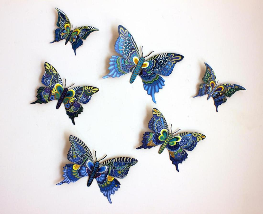 Patricia Govezensky Set of 6 Original Hand Painted