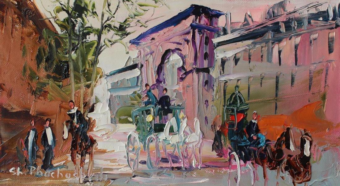 Shalva Phachoshvili- Quiet Town   Original oil on - 2