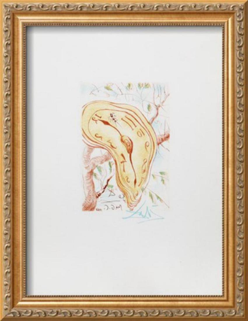 "Salvador Dali ""Melting Clock"" Custom Framed Intaglio"