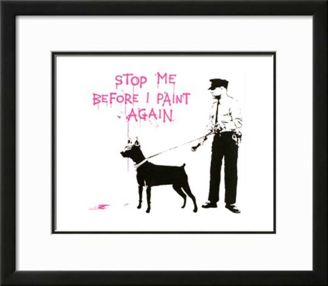 "Banksy ""Stop me before I paint again"" Custom Framed"