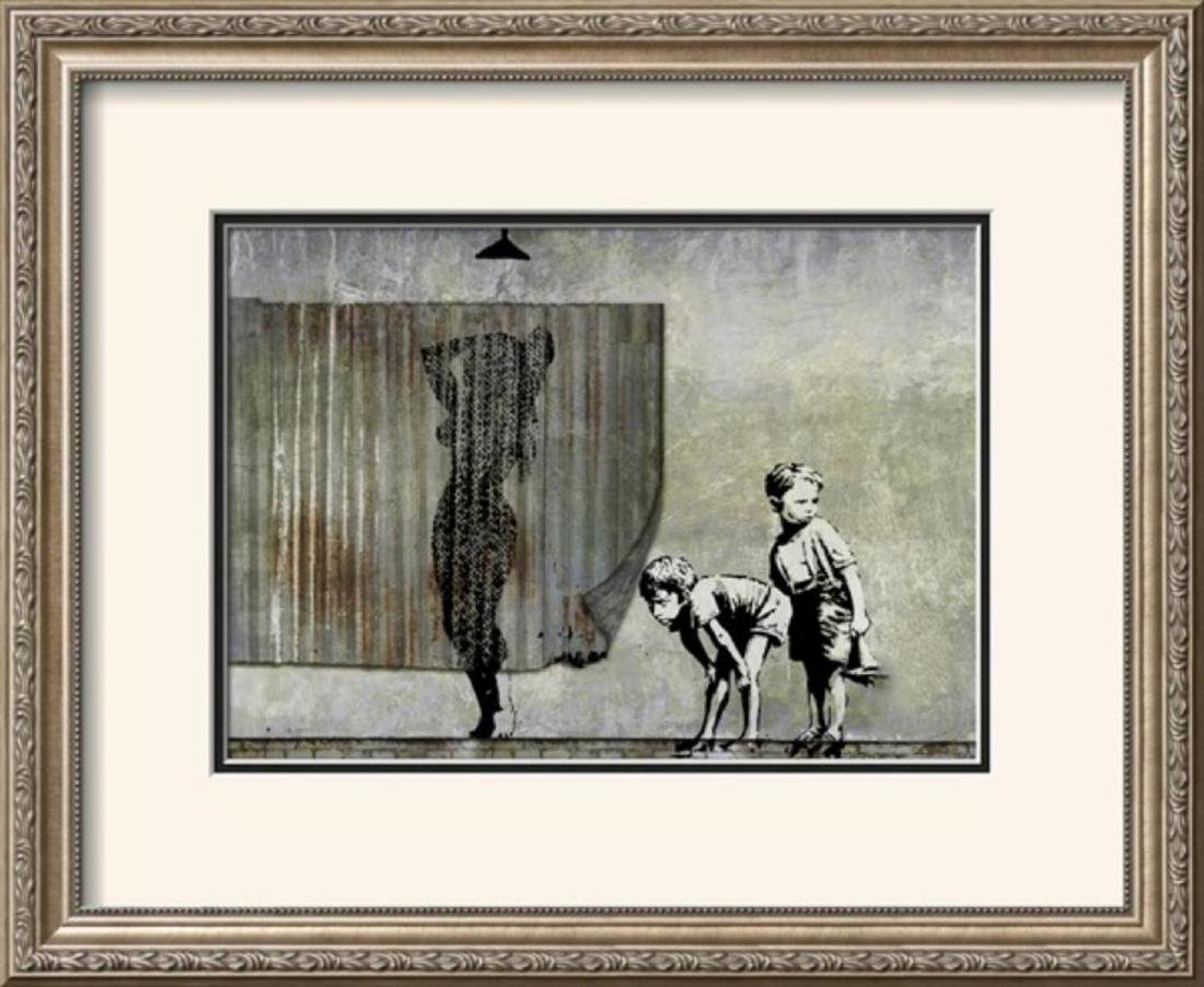 "Banksy ""Shower Peepers"" Custom Framed"